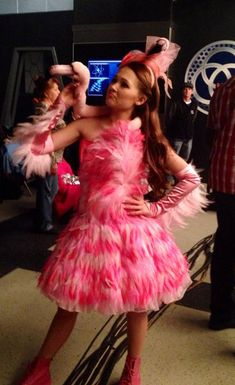 Photos: Kelli Berglund Pretty In Pink Flamingo Outfit February 4, 2015 - Dis411