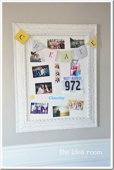 Use a picture frame & corkboard to create a bulletin board. Love the sophisticated look. Might consider combining with fabric over the corkboard.