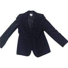 Pre-owned Armani Collezioni Navy Viscose Jacket (6.820 RUB) ❤ liked on Polyvore featuring outerwear, jackets, navy, women clothing jackets, armani collezioni jacket, navy blue jacket, armani collezioni and navy jackets