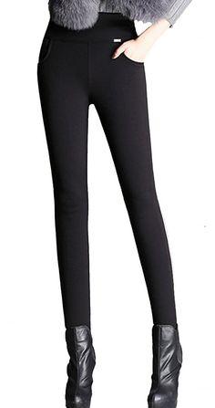 9fb0ea75b1ea0 Women's Winter Super Warm Velvet Thicken Stretch Thermal Leggings Pencil  Pants - Black - C912N6ML72V