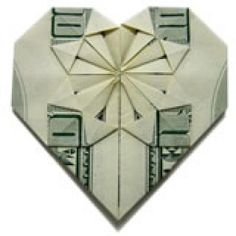 Decorative money Folded heart Tutorial. You can also see a video tutorial at http://www.instructables.com/id/Dollar-Bill-Oragami-Heart/