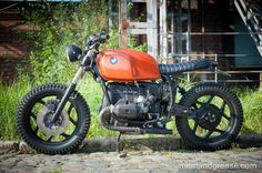 Belgian brew of Meat & Grease: Their first build is this cool BMW scrambler, based on a Bmw Cafe Racer, Custom Cafe Racer, Cafe Racers, Bmw Motorcycles, Custom Motorcycles, Custom Bikes, R65, Brat Cafe, Custom Bmw