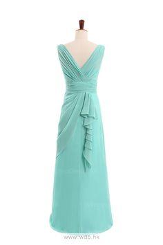 Elegant V-neck chiffon dress for birdesmaid $135.8