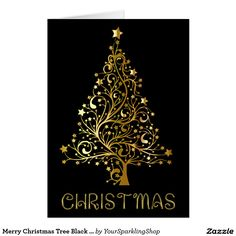 Merry Christmas Tree Black Gold Shiny Text  #ChristmasCard