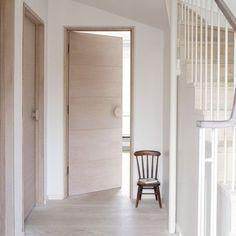 Ideas For Flooring Oak Doors Oak Interior Doors, Oak Doors, Wooden Doors, White Oak Floors, White Walls, Glass Panel Internal Doors, White Hallway, Bedroom Doors, Hallway Decorating