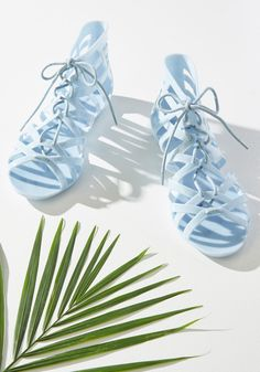 Twists and Head Turns Sandal in Powder Blue. When your ensemble craves just a little more oomph, these pastel blue sandals do the trick! Cute Sandals, Lace Up Sandals, Shoes Sandals, Slingback Shoes, New Style Shoes, Plastic Shoes, Jelly Shoes, Prom Shoes, Childrens Shoes