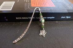 ♥ Marque page métal argenté, perle résine vert/rose et papillon ♥ : Marque-pages par perlesenpagaille