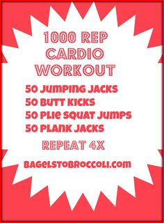 1000 Rep Bodyweight Cardio Workout - No Burpees or Equipment! // bagelstobroccoli.com
