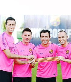 Four Barcelona captains for the 2014/2015 season.