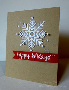 Happy Holidays CAS Snowflake Christmas card