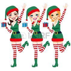 Tres hermosos elfos ayudantes de Santa Claus la celebraci�n de regalos de Navidad y agitando la mano photo