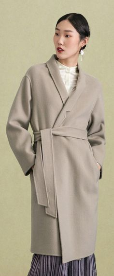 5a132086b87 Elegant light gray wool coat casual stand collar winter coat tie waist women  coats