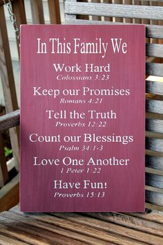 Christian Family Rules Sign Bible Verses by PreciousMiracles