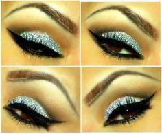 I know the NEW YEAR is approaching and I wanted to give you some ideas for your makeup.  I did this look with Color Me Beautiful Eyeline Sealer, Glitter, Adobe and Gleam Color Sense Single Eye Shadows, Black Diamond Liquid Eyeliner, Black Magic Waterproof Automatic Eyeliner, Super Wear Mascara in Ink.  It makes it look like diamonds on top of your eyes.  Love it!!!