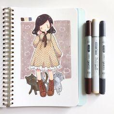 """Kaiami """"new dress I bought at the flea market last week"""" Drawings, Cute Art, Cartoon Art Styles, Illustration Art, Art, Marker Art, Cute Drawings, Art Tutorials, Cute Art Styles"""