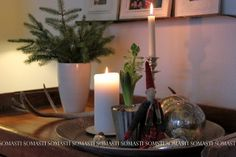 Jouluinen asetelma Candles, Table Decorations, Furniture, Home Decor, Decoration Home, Room Decor, Candy, Home Furnishings, Candle Sticks