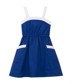 Girl's sleeveless dress in lovely soft serge Surf blue / Ecume white - Petit Bateau