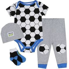 Set Includes Soccer Ball Creeper, Grey Pants, Grey Hat, And Black And Blue Socks Sizes 0/3 Months 3/6 Months 6/9 Months Made From 100% Cotton Label Nuby #BabyClothes