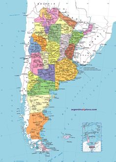 Political Map of Argentina . Cities, provinces and locations. Latin America, South America, World Geography Map, Map Globe, Illustration, Travel, Patagonia, Christopher Hughes, Gypsy Chic