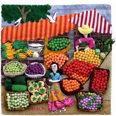 Fruit Market. Arpillera art quilts