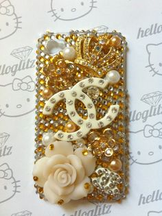 3D Gold and Silver Bling iPhone 4 Case by helloglitz on Etsy, $75.00