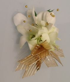 White Dendrobium Orchids with Gold Pearls Boutonniere. Homecoming Flowers, Prom Flowers, Homecoming Dresses, Prom Corsage And Boutonniere, Wrist Corsage, White Dendrobium Orchids, Prom Ideas, Gold Pearl, Flower Designs