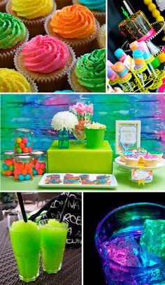 Cupcakes, bebidas, candy bar... todo en tonos neón.