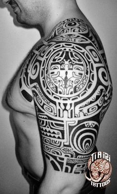 Polynesian Shoulder & Chest Tattoos - Ti'a'iri Polynesian Tattoo