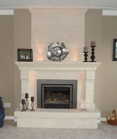 Fireplaces and fireplace mantels are fast becoming a core feature in homes across the world as they add a real feature point to any formal or indeed casual living area. Funnily enough fireplaces ha… Stone Fireplace Mantel, Farmhouse Fireplace, Fireplace Remodel, Modern Fireplace, Fireplace Mantle, Fireplace Design, Limestone Fireplace, Fireplace Surrounds, Fireplaces