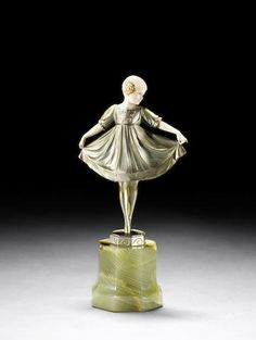 Ferdinand Preiss  'Lieselotte' a small cold-painted bronze and carved ivory Figure, circa 1925