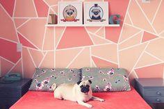 Pared geometrìca ....<3<3 Bedroom Murals, Bedroom Wall, Bedroom Decor, Box Room Bedroom Ideas, Wall Paint Inspiration, Diy Wall, Wall Decor, Geometric Wall Paint, Wall Paint Patterns
