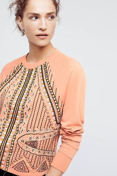 Pink beaded front top. Akemi + Kin Beaded Rose Sweatshirt