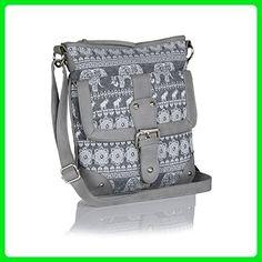 Grey Elephant Aztec Tribal Crossbody Bag, Multi-functional canvas purse w buckle - Crossbody bags (*Amazon Partner-Link)