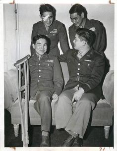 1944- Japanese-American soldiers of the 34th Division's 100th Infantry Battalion shown at the Hotel Astor in New York after telling of their experiences during fighting in Italy.