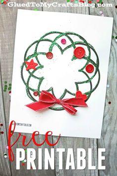 Glitter Christmas Wreath - Kid Craft Idea w/free printable template