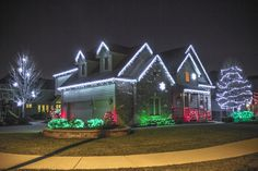 christmas outdoor hanging lights on trees - Google Search