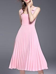 Vestido línea A con espalda abierta y fuelle-(Sheinside)
