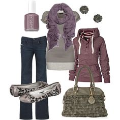 Purple and grey outfit...those shoes are adorable
