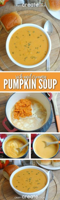 This amazing rich & creamy pumpkin soup is perfect for cooler days! #pumpkinsoup via @CraftCreatCook1