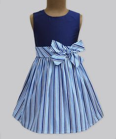 Loving this Ocean Shore Stripe Double Bow Dress - Infant, Toddler & Girls on #zulily! #zulilyfinds