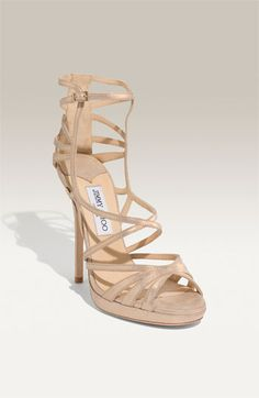 7599b047b Jimmy Choo Beige suede  Ontario  strappy platform sandals  thebest835  -   222.00   Discounted Christian Louboutin