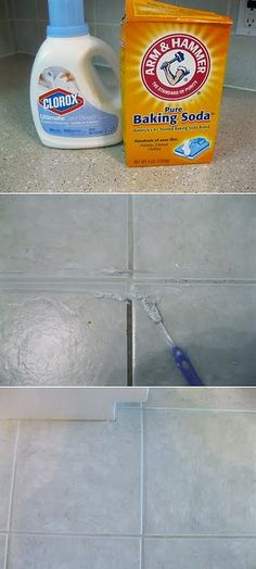 DIY grout cleaner, cup bleach & cup baking soda to create a nice thick paste.Use an old toothbrush and scub. Let it sit for ten minutes, then wipe clean with a rag and hot water (rinse rag constantly).