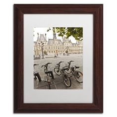 """Trademark Art """"Paris Deux - City Hall Bicycles"""" by Yale Gurney Matted Framed Photographic Print Size:"""