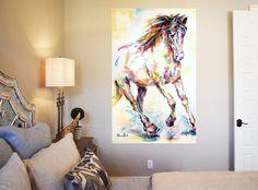 CANVAS PRINT / Colourful horse art / horse watercolour / horse