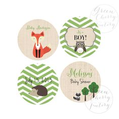 Printable Cupcake Toppers - Fox Woodland Baby Boy Shower - Circle Tags - Woodland Cupcake Toppers - Printable No.544