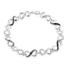 Black and White Diamond Accented Infinity Bracelet in Sterling Silver