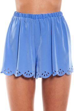 Tobi Scallop Trace Shorts, Color: Light Blue, $30.00