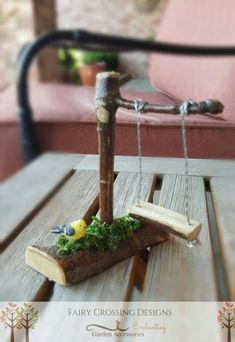 Fairy Garden Swing Miniature Garden Accessories Miniature Swing Fairy Gardening by Fairy Crossing Designs on Etsy