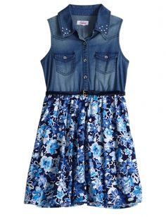 Denim And Floral Belted Dress in  from Justice on shop.CatalogSpree.com, your personal digital mall.
