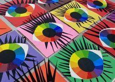 Pearce's Art Room : Eyeballs Mrs. Pearce's Art Room : Eyeballs Color Wheel Projects, Classe D'art, 2nd Grade Art, Creation Art, Ecole Art, School Art Projects, Unique Art Projects, Art Lessons Elementary, Elements Of Art